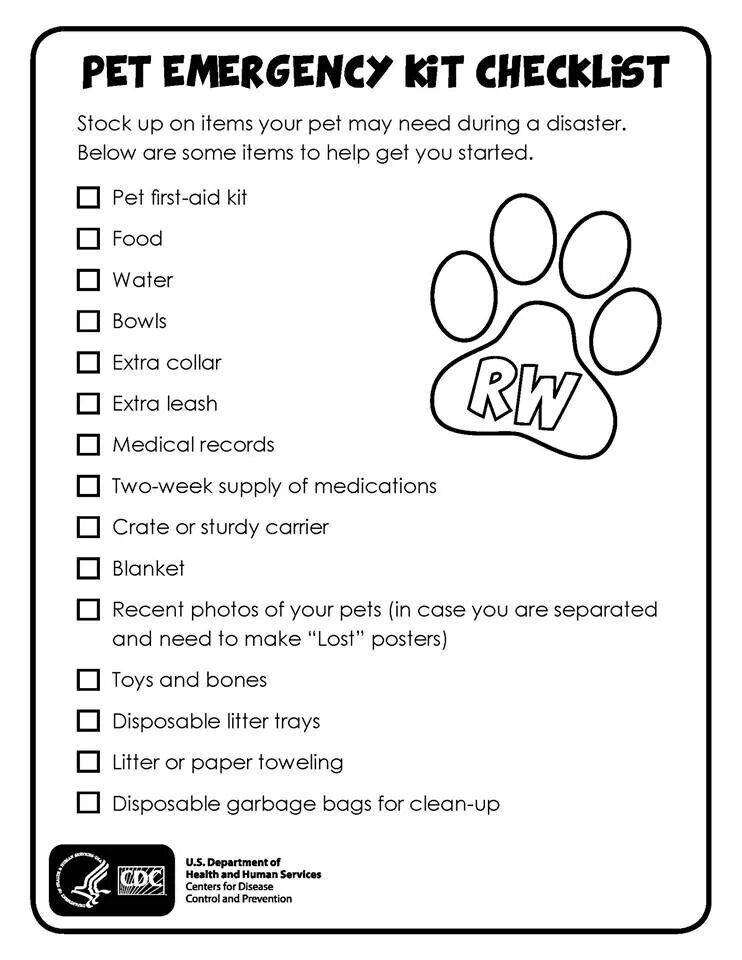 Pet emergency kit Chewieu0027s got one a couple water bottles - emergency action plan template