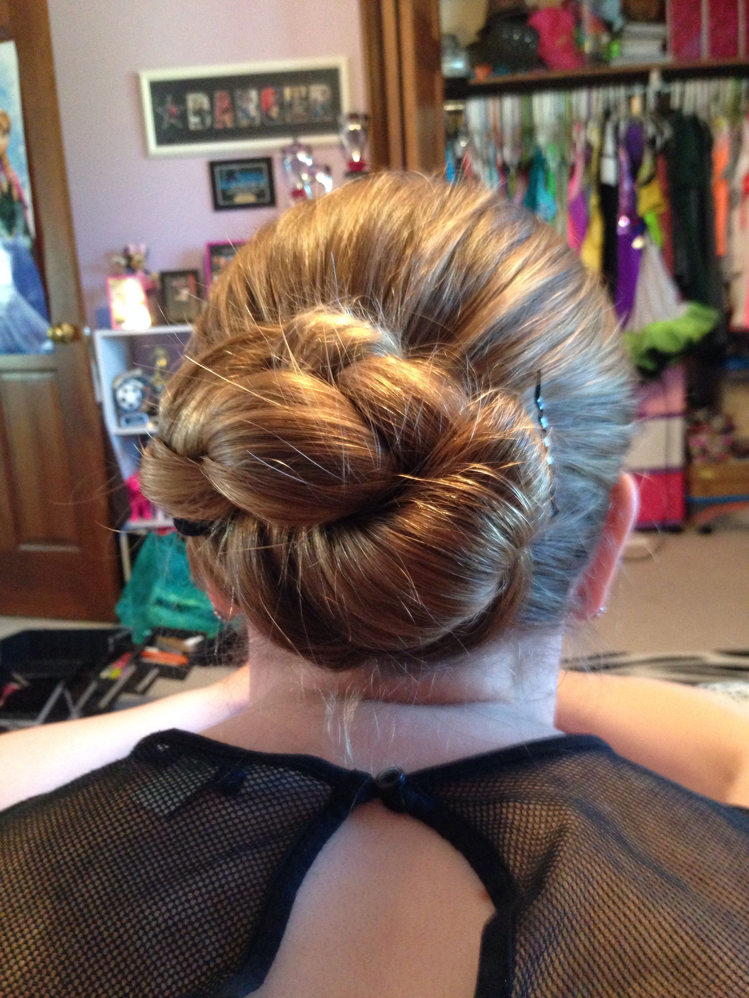easy hair for dance! 1st put hair in pony tail 2nd braid ...
