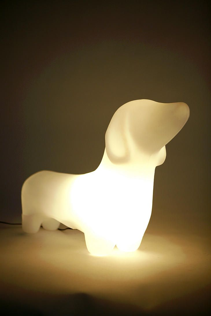 Delightful Dachshund Lamp: Life Size To Light Up Your Life! Choose White Or Green $78