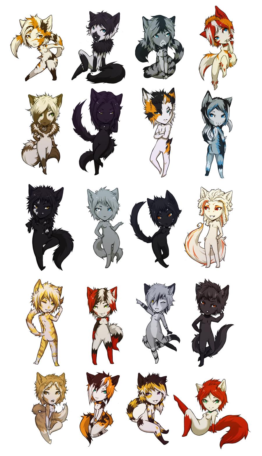 Картинки для срисовки аниме чибиков в котята