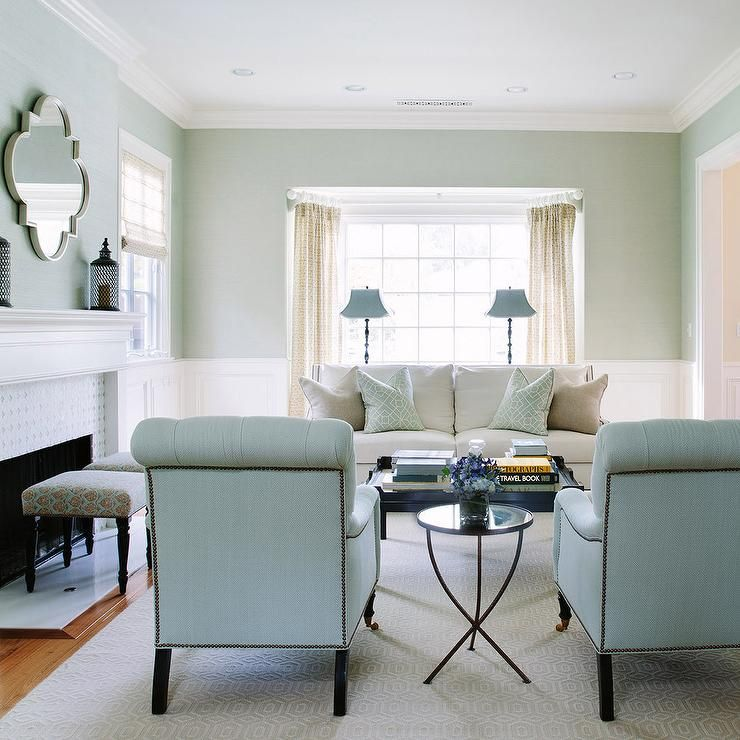 Amazing Room · White And Blue Living Room Features Upper Walls Painted ...