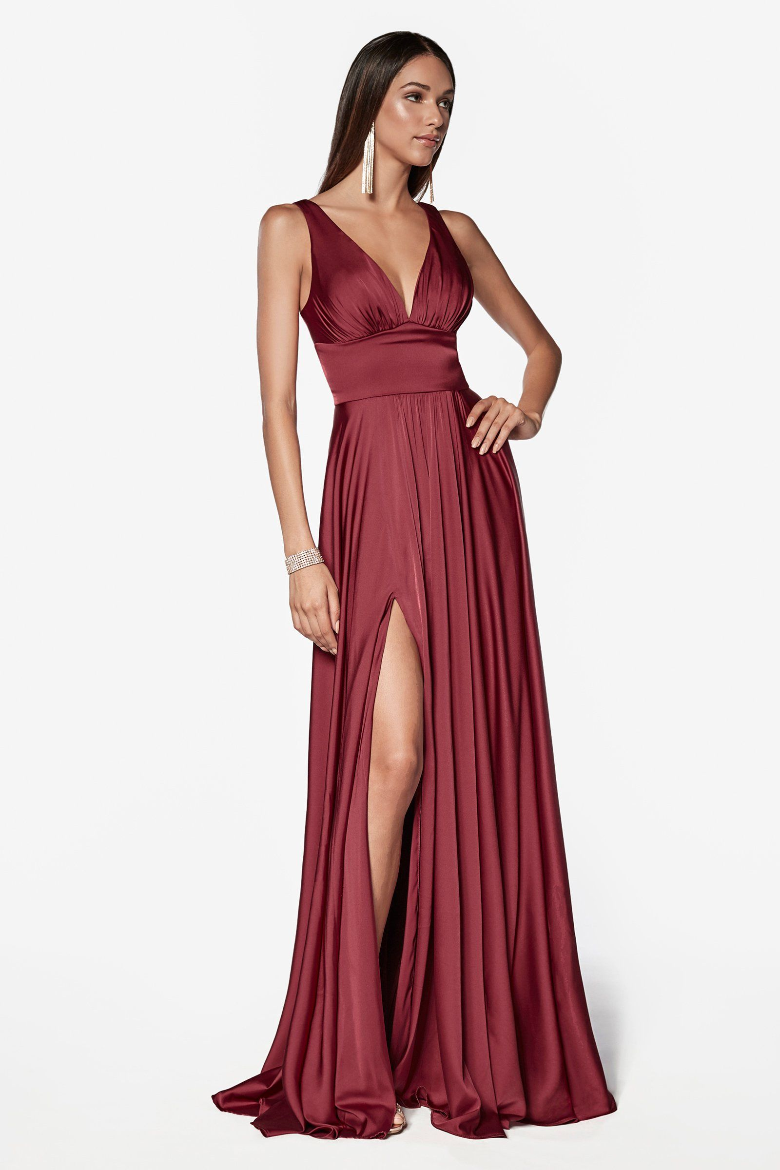 d6c60e2e853 Long Satin V-Neck Dress with Leg Slit by Cinderella Divine 7469 in ...