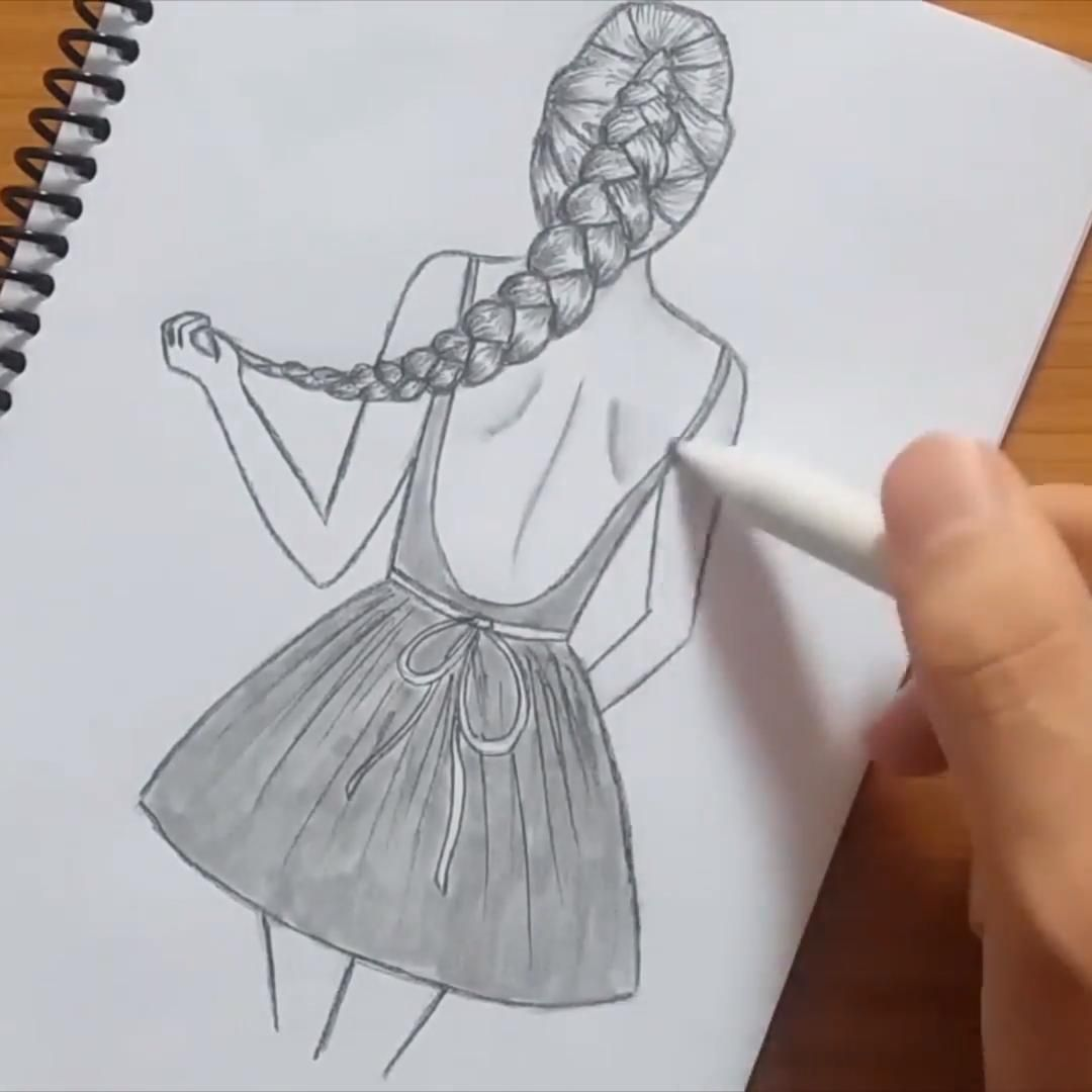 How To Draw A Girl With Beautiful Hair Style Video In 2020 Girl Drawing Sketches Art Drawings Sketches Pencil Art Drawings Sketches Creative
