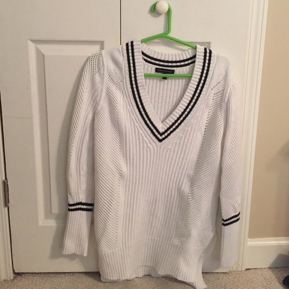 Banana Republic Sweater S Banana Republic White Sweater with black stripes in size S Banana Republic Sweaters V-Necks
