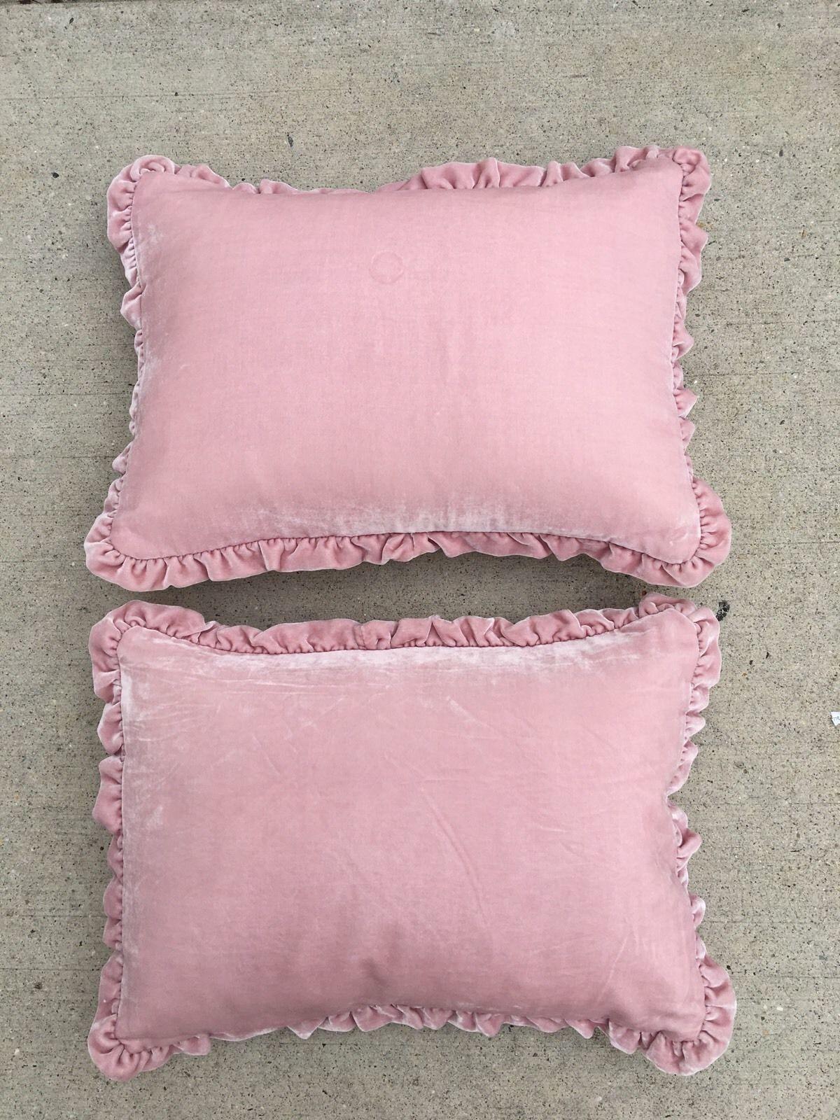 Rachel Ashwell Shabby Chic Pink Velvet Ruffle Throw Pillows Ebay