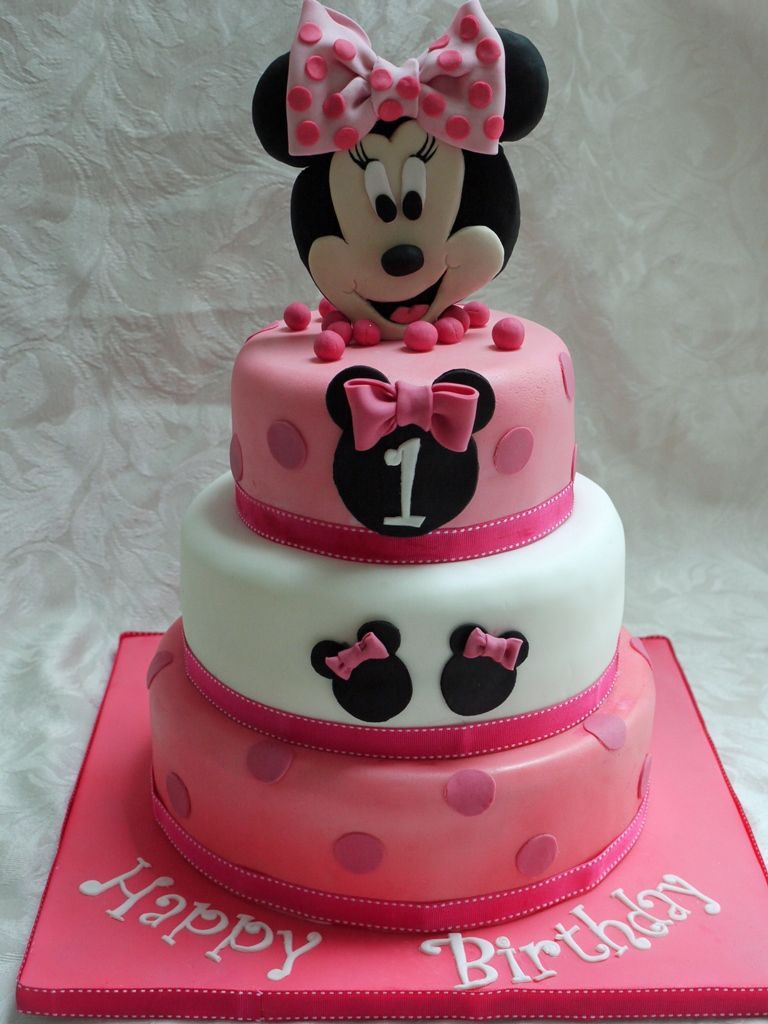 3 tier minnie mouse cakes Minnie Mouse 3 Tier 1st birthday Cake
