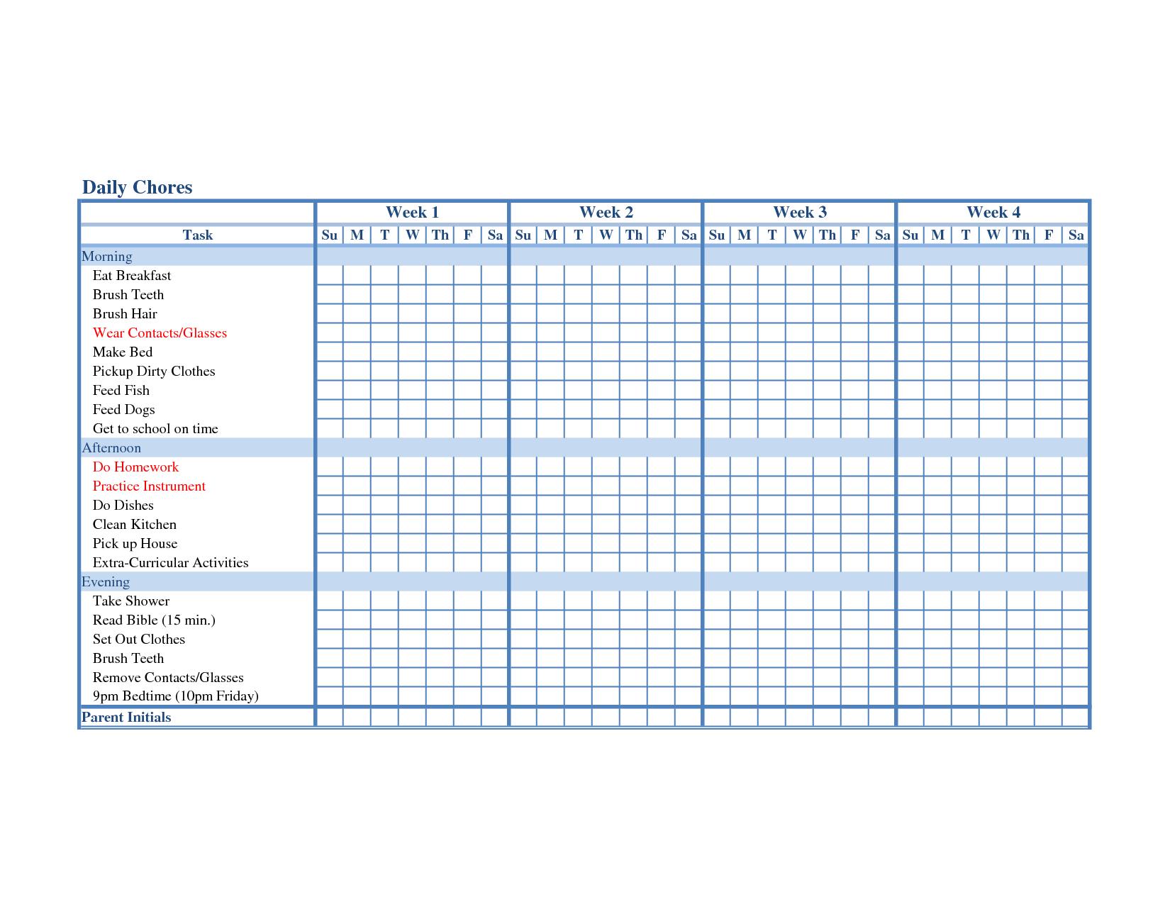 Chore List Calendar Template