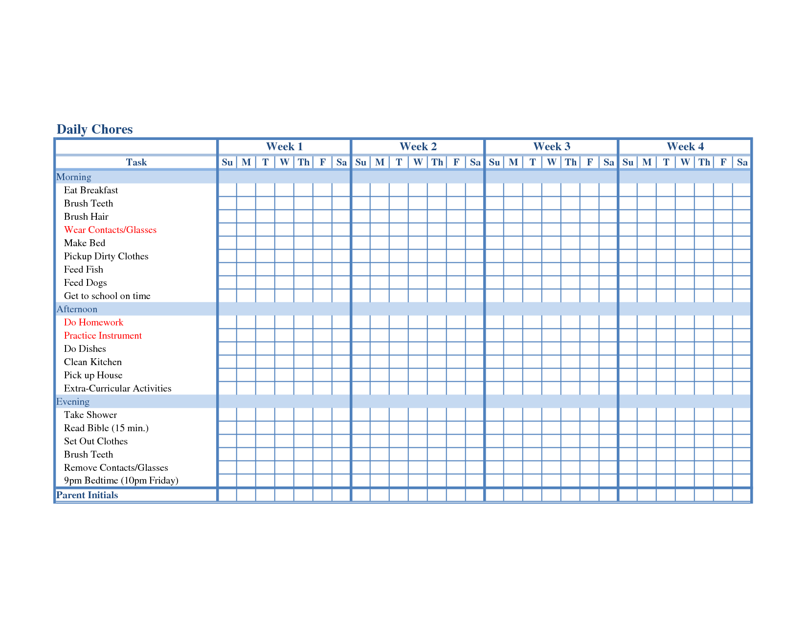 Chore List Calendar Template  Printable Blank Childrens Chore