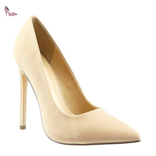 Angkorly - Chaussure Mode Escarpin stiletto femme verni Talon haut aiguille 8.5 CM - Or - OT103 1VoW6PJ7Vo