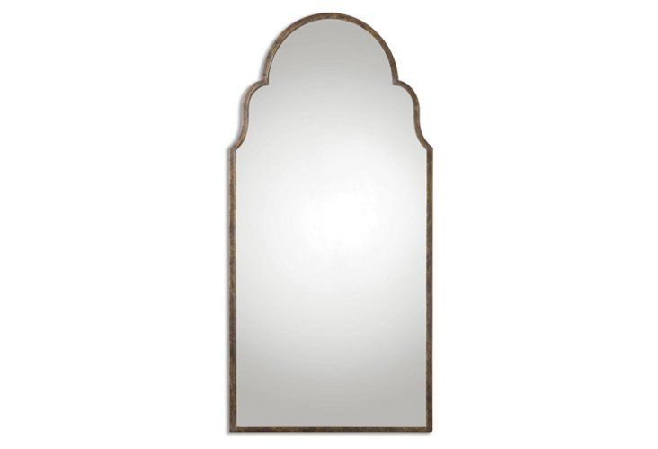 burnished floors arch gold arched windowpane new pin leaning large metal mirror floor