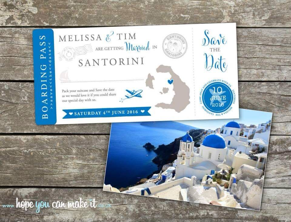 Santorini wedding save the date boarding cards