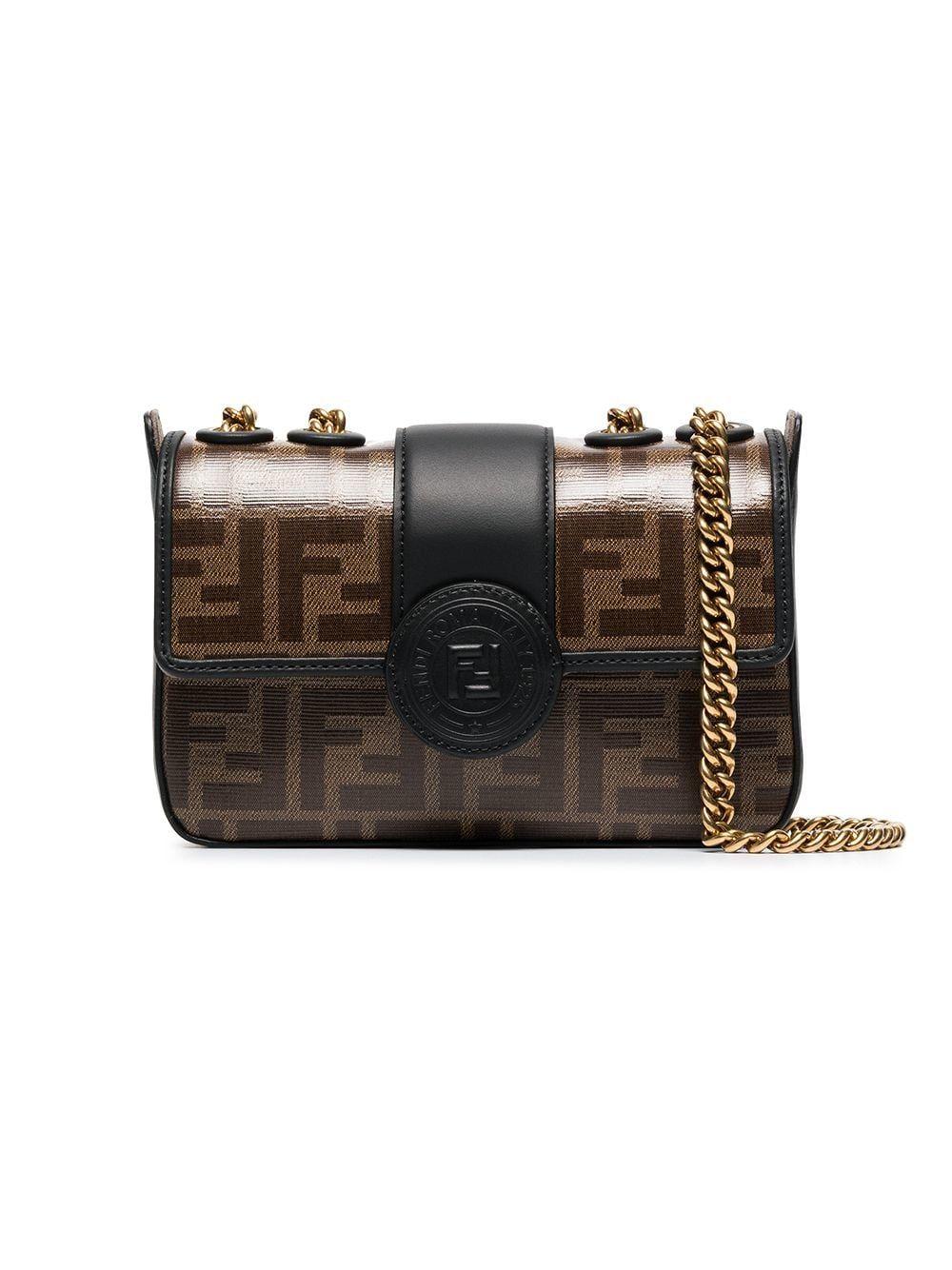 586f60d8 Fendi mini logo print double FF bag   Want   Leather crossbody bag ...