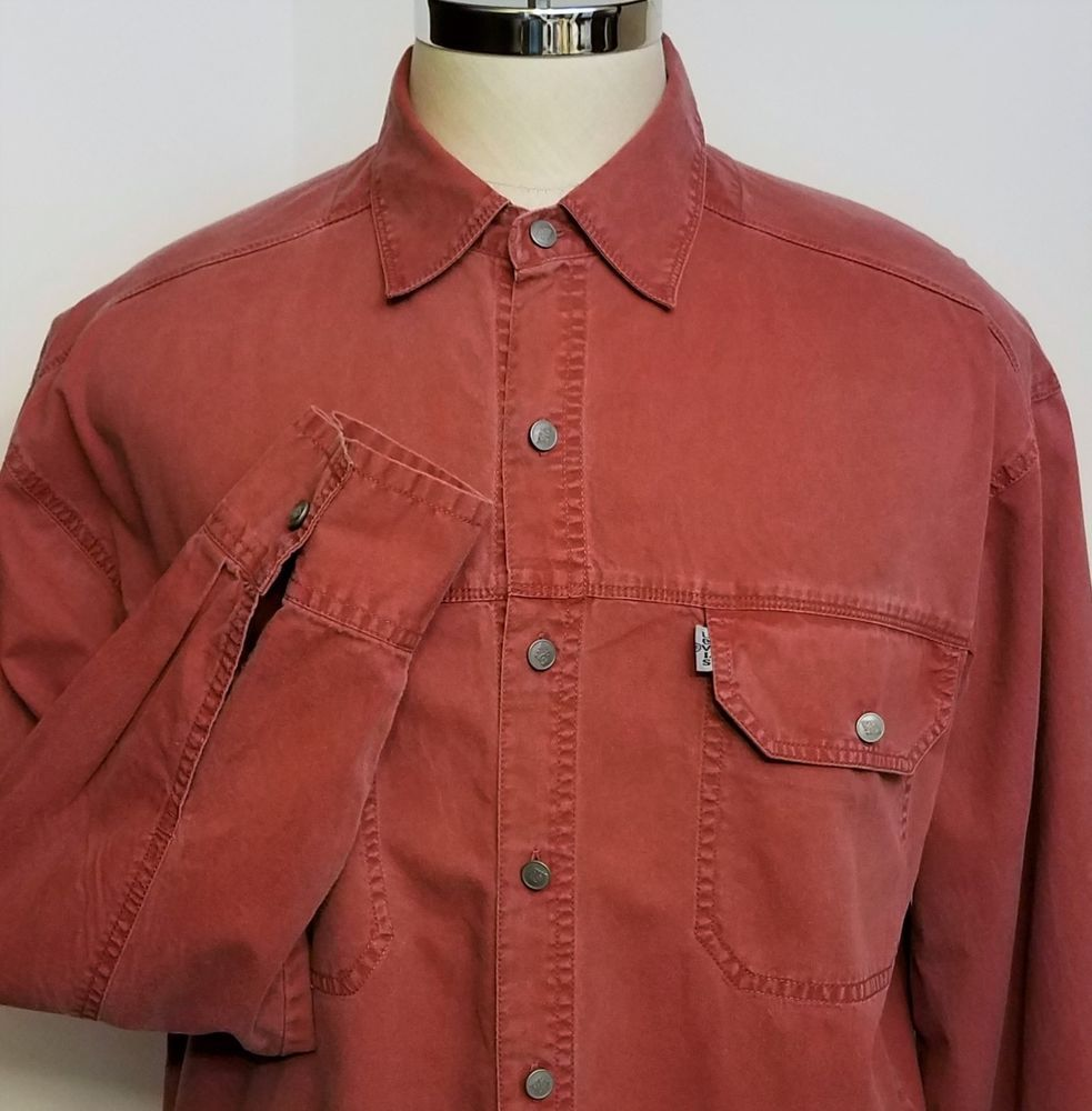 919ffe35481 Levi s Mens Red Denim Shirt Size Large  Levis  ButtonFrontDenimShirt ...