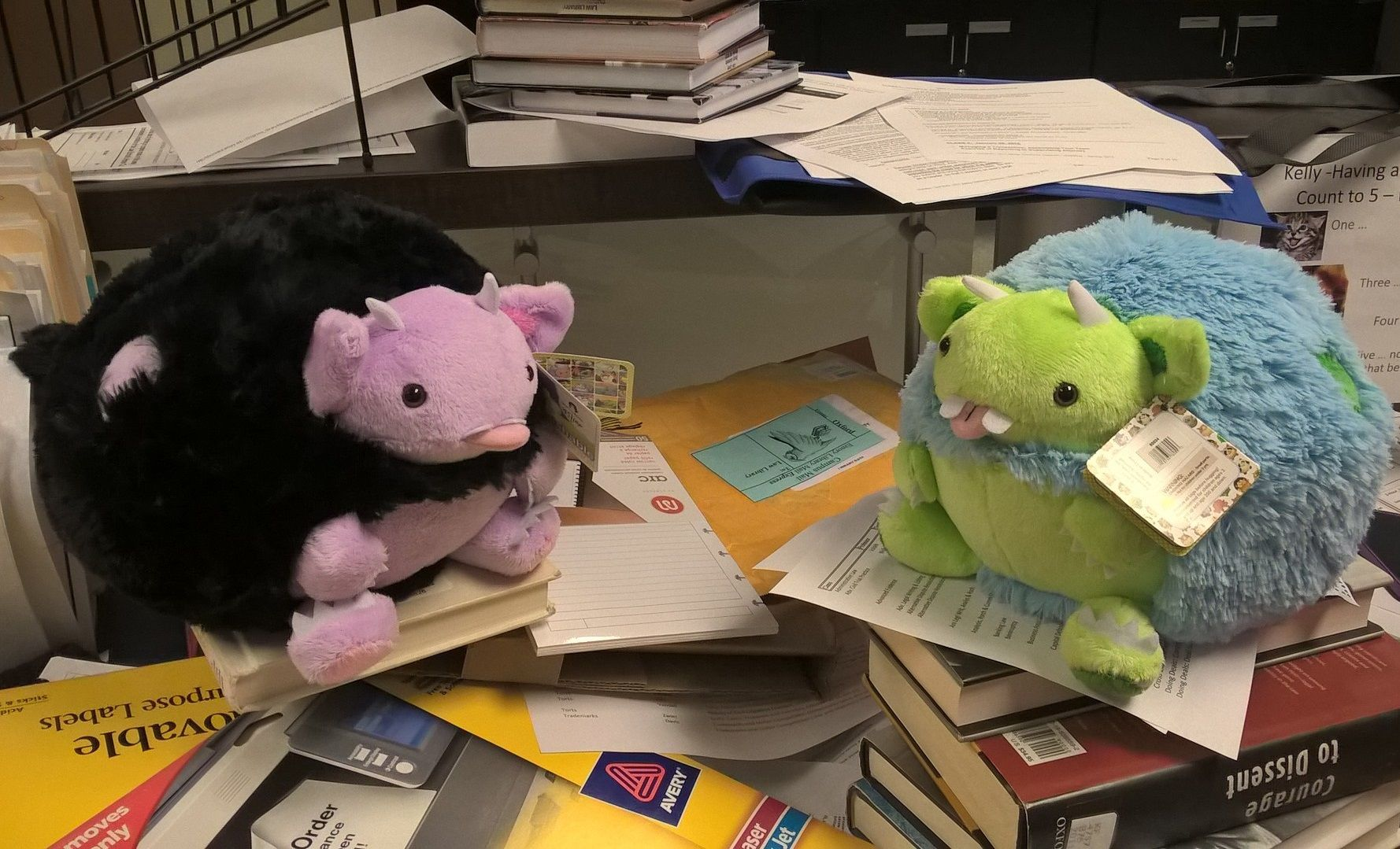 #squishywork2015 The semester is right around the corner. Look at all the reserves we have to get together! Is there a desk under all this mess?