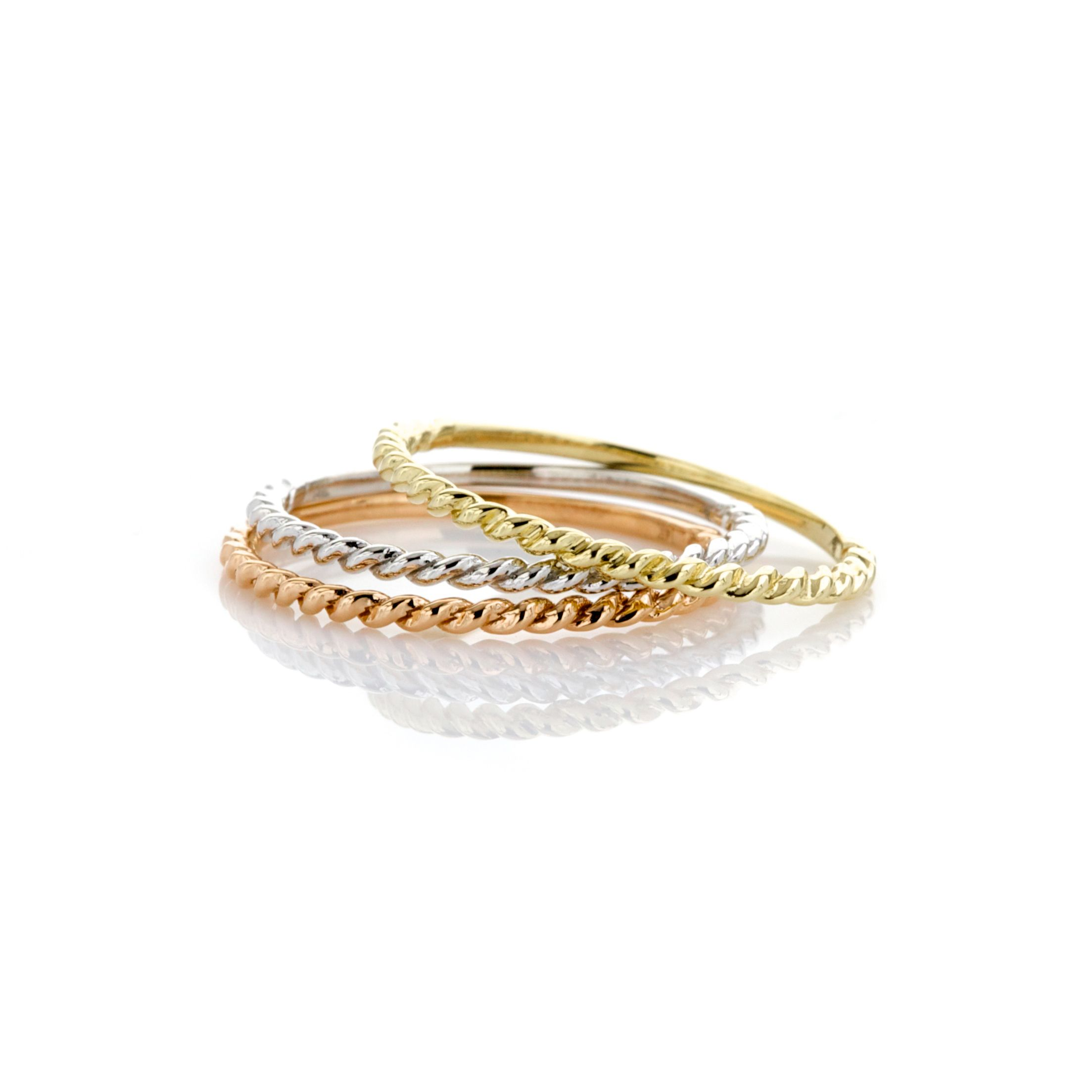 Twisted Rope Texture Thin Stacking Rings in Gold, White Gold, and Rose Gold #Rose #Gold #Stacking #Rings #Rope #Trends