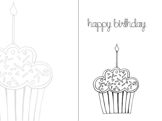 Free Birthday Cards Printable Online Black And White Google Search