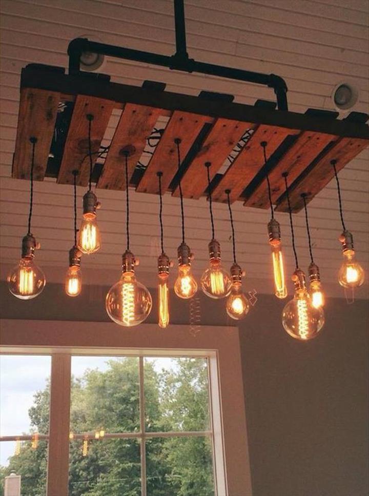 lámparas de palets Escalera Pinterest Palets, Iluminación y - lamparas para escaleras