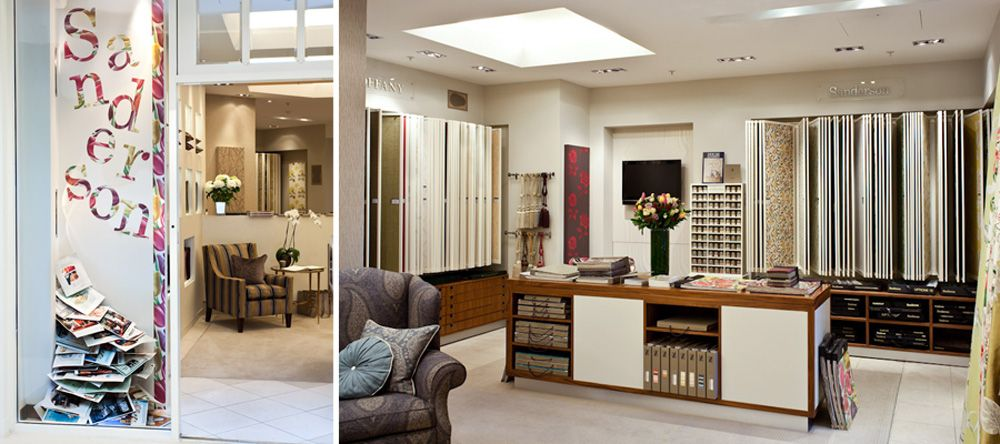 Sanderson Traditional To Contemporary High Quality Designer Fabrics And Wallpapers Showrooms Offices View The Worldwide Design Showroom Fabric Display