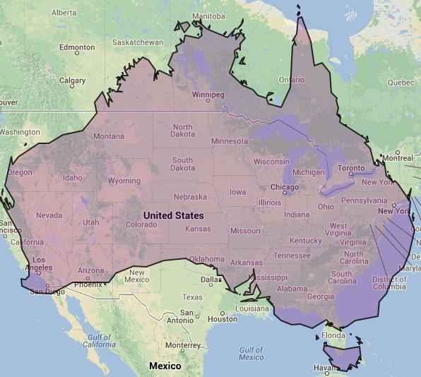 online maps australia and north america