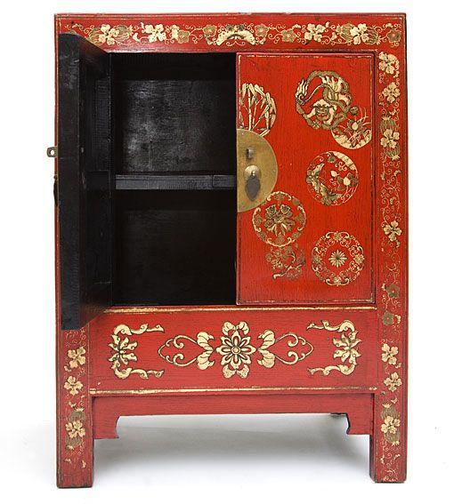 Armario chino rojo con motivos dorados pinteres - Mueble oriental madrid ...