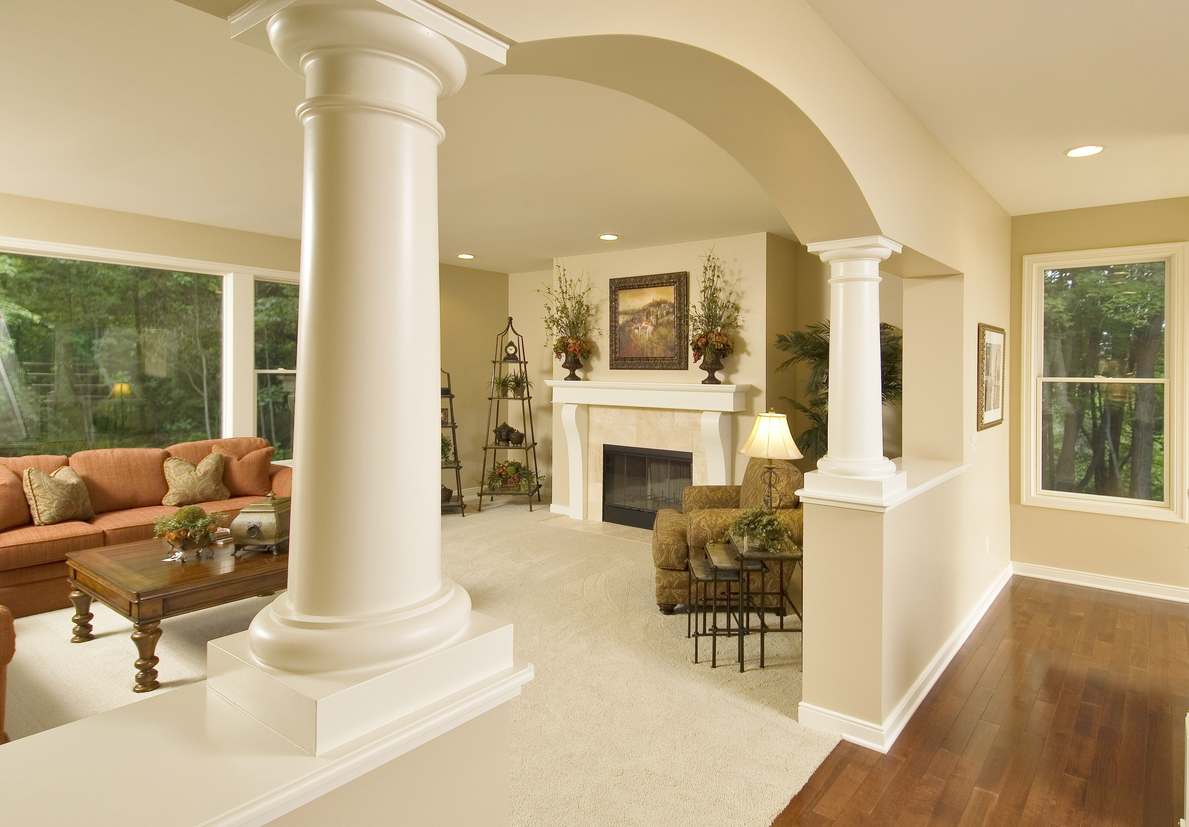 Arched Opening With Custom Painted Columns, Large Picture Window, Ceramic