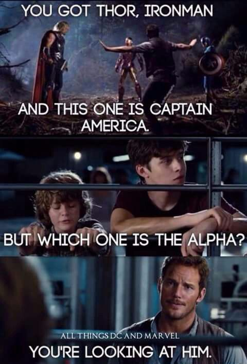 Avengers X Jurassic World<<Just need a little Star Lord creature-taming skills to get this Civil War nonsense to stop. I don't know why they don't just all him in.