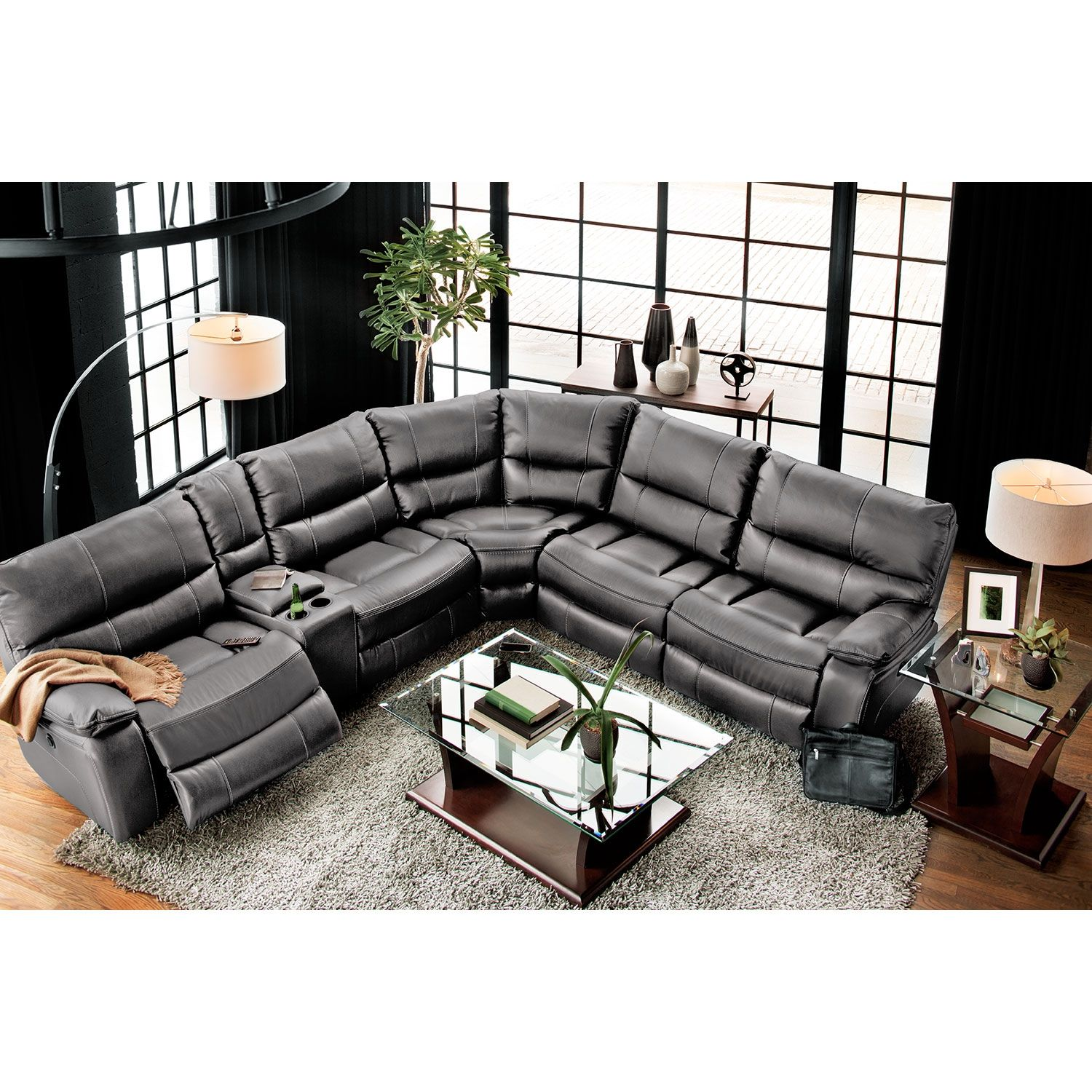 Orlando 6-Piece Power Reclining Sectional with 3 Reclining ...