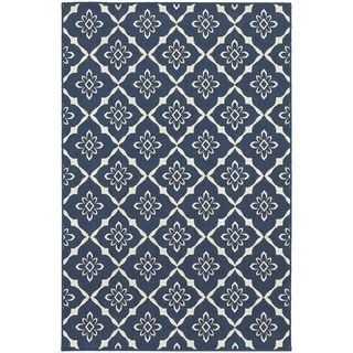 Stylehaven Lattice Navy Ivory Indoor Outdoor Area Rug 7 10x10 10 Indoor Outdoor Area Rugs Area Rugs Indoor Outdoor Rugs