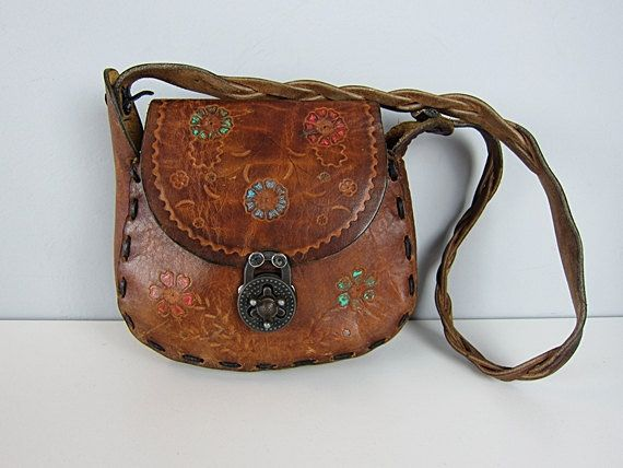 c17948066af9 Vintage 70s Hippie Tooled Leather Bag Hand Painted Flowers Braided Strap Bohemian  Floral Saddle Hobo