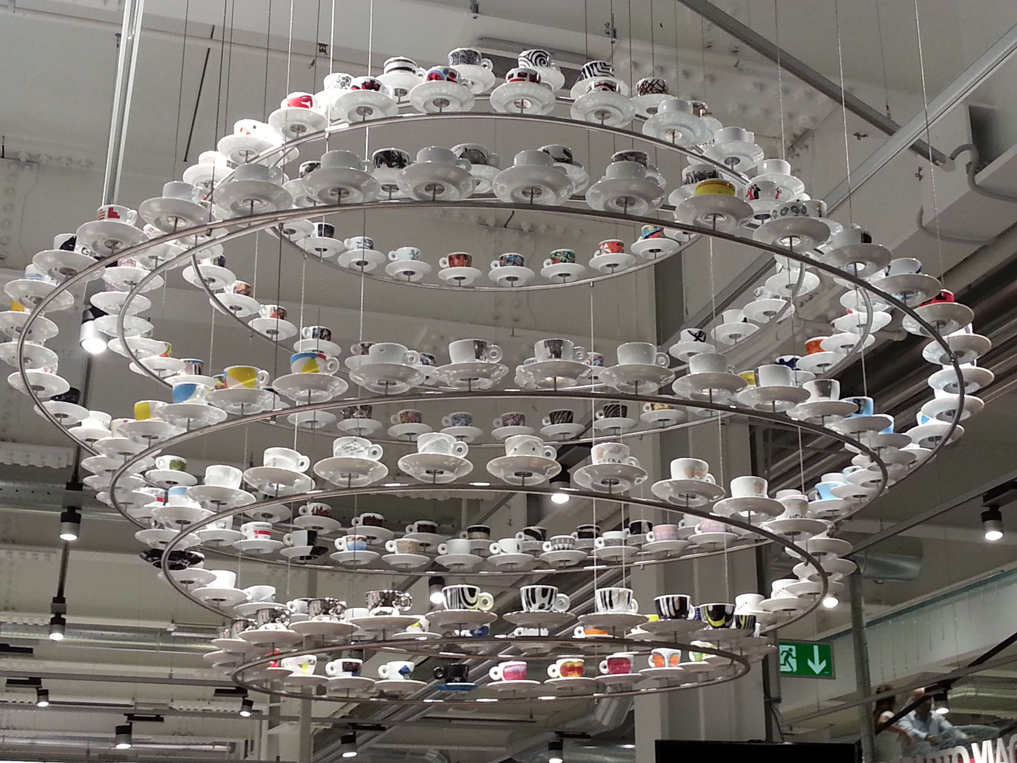 Illy cups chandelier from eataly store rome inspiring illy cups chandelier from eataly store rome arubaitofo Choice Image