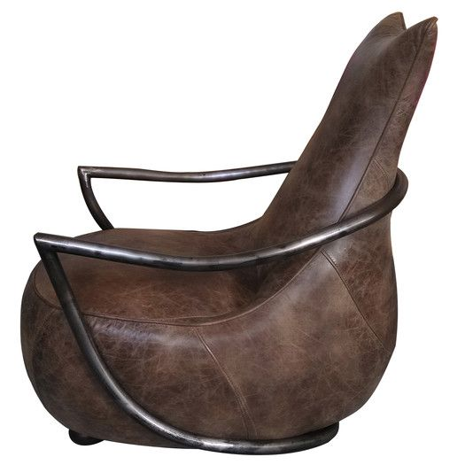 Moe's Home Collection Leather Carlisle Arm Chair