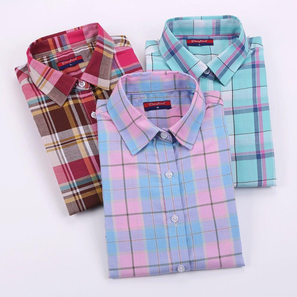 Plus size womens flannel shirt  Encontrar Más Blusas y Camisas Información acerca de Dioufond Marca