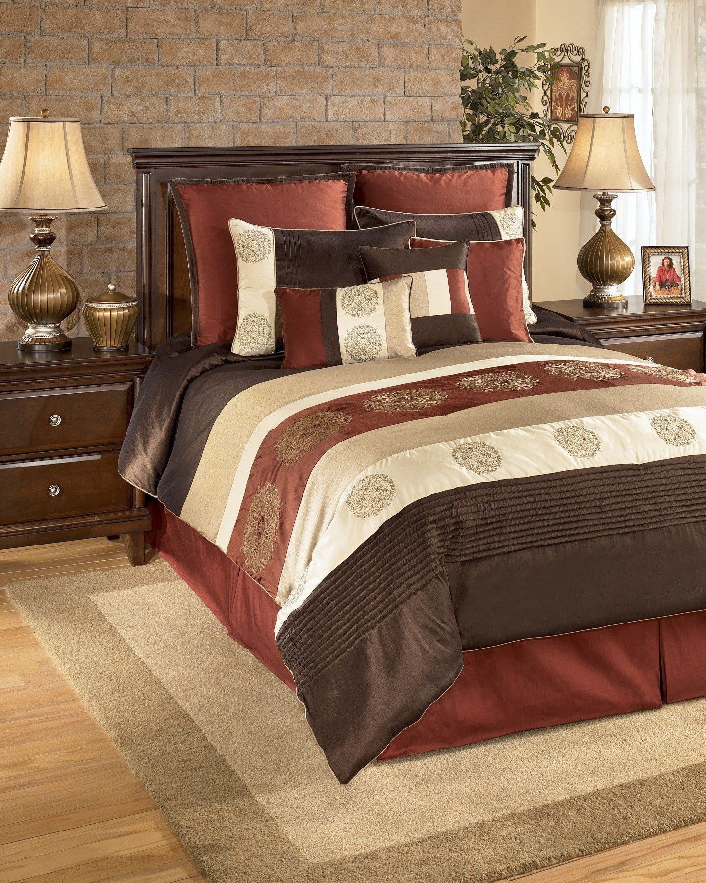 Oversized King Size Bedding 126x120 Milano Russett Set Q175007k Ashley Furniture