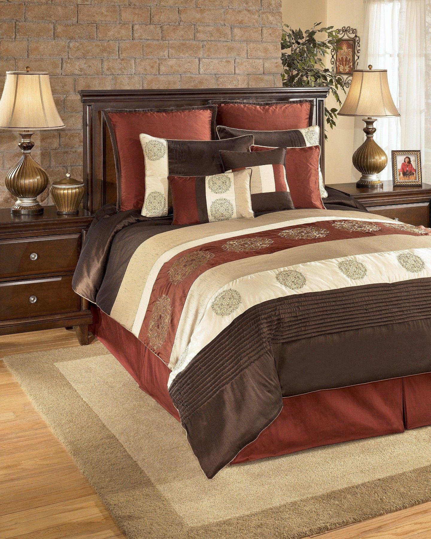 Oversized King Size Bedding 126x120  Milano Russett King Bedding Set,  Q175007k, Ashley Furniture