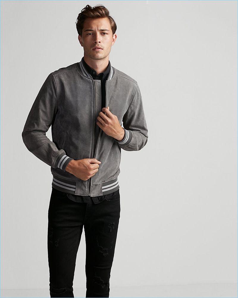 Jacket Season Covetable Express Styles Bomber Jacket Jackets Gray Jacket [ 1000 x 800 Pixel ]