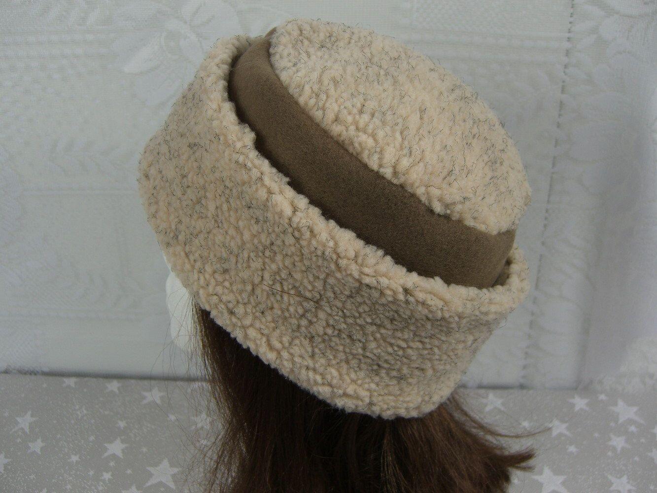 fe50a3cfe Adult BERBER PILLBOX Hat, nubby ecru berber and fleece hat, Women's ...