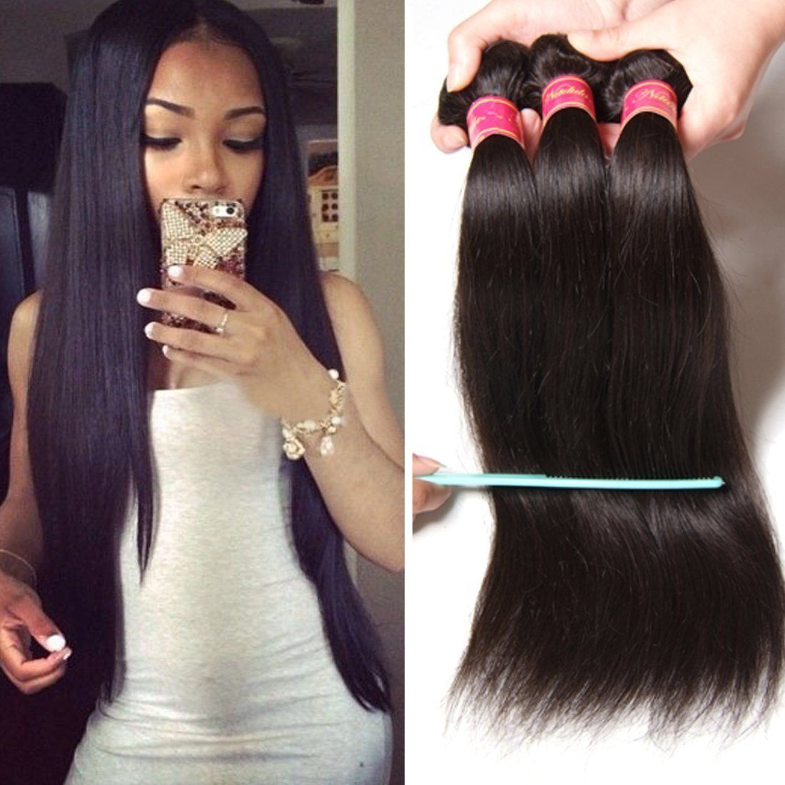 Nadula 6a Brazilian Straight Hair Weaves 3pcs/lot Virgin