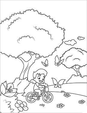 ausmalbild frühling - junge fährt fahrrad zum ausdrucken