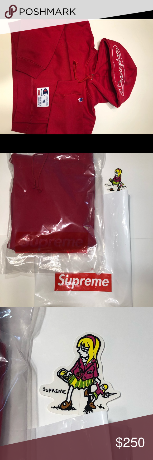 Supreme Champion Outline Hoodie Red Red Hoodie Hoodies Clothes Design [ 1740 x 580 Pixel ]