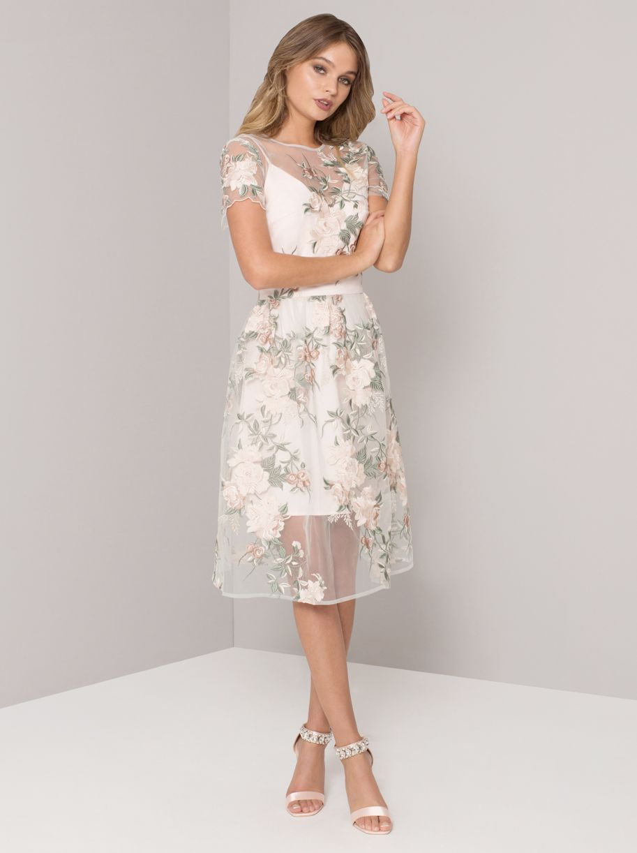Chi Chi Bryanna Floral Embroidered Dress, Ivory/Multi | Wedding Outfits