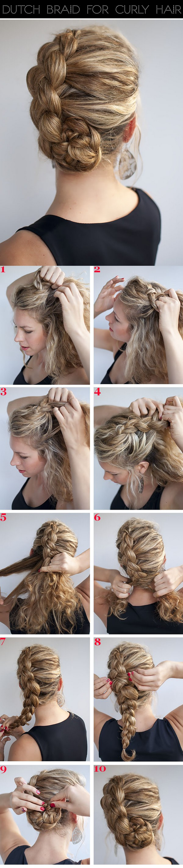 Dutch braid for curly hairstyles hair pinterest dutch braids