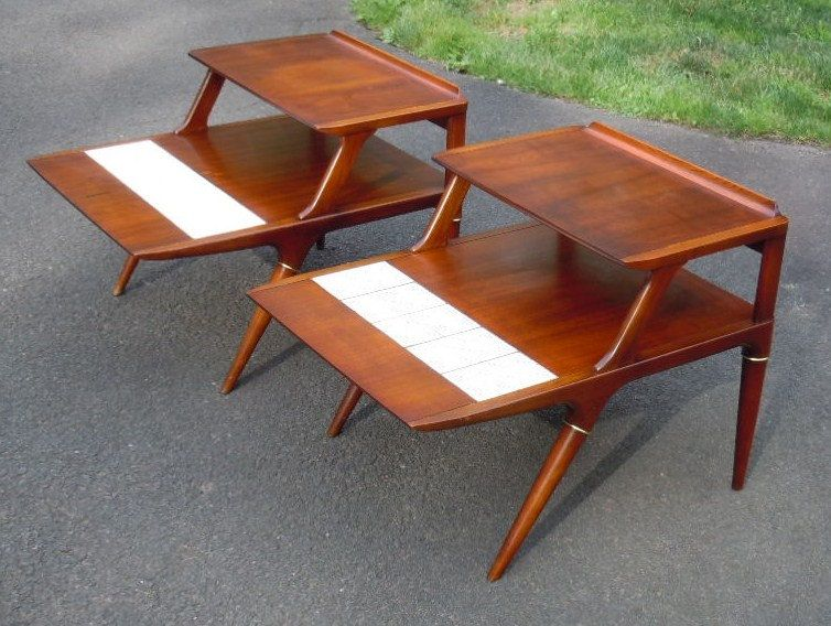 Pair Of Mid Century Modern Side/End Tables By Lane/Tile Top $295