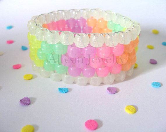 Hey, I found this really awesome Etsy listing at https://www.etsy.com/listing/104642383/glow-kandi-cuff-pastel-rainbow-rave
