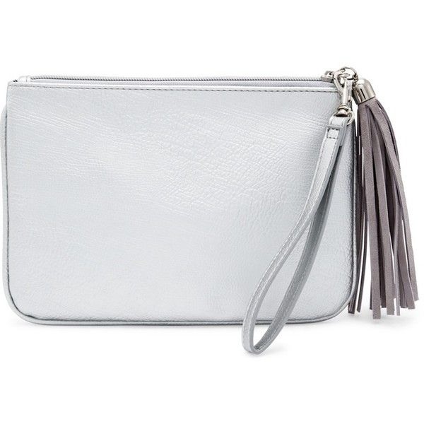 Chico's Pamela Clutch (€12) ❤ liked on Polyvore featuring bags, handbags, clutches, silver, party clutches, tassel purse, party purse, zipper purse and zipper handbag