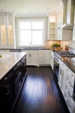 white cabinets dark island and dark wood floor maybe even use wood look tile home on kitchen remodel dark floors id=82802