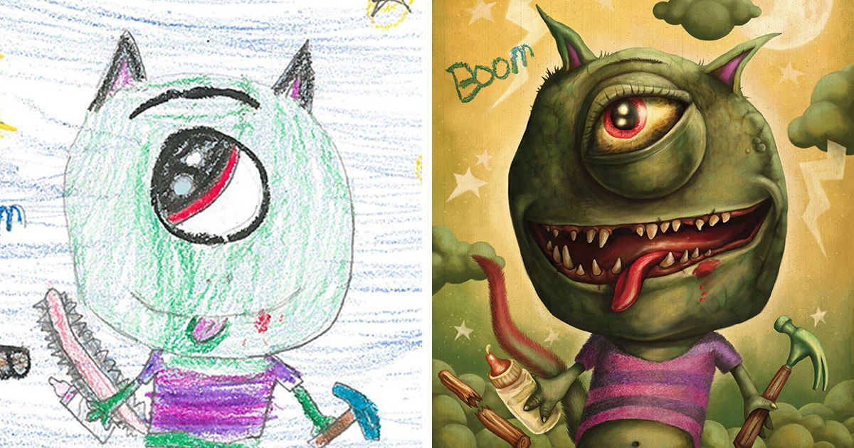 55 Artists Recreate Kids Monster Doodles In Their Unique Styles