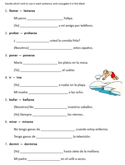 Spanish Worksheets Printables Reflexive Verbs Worksheets