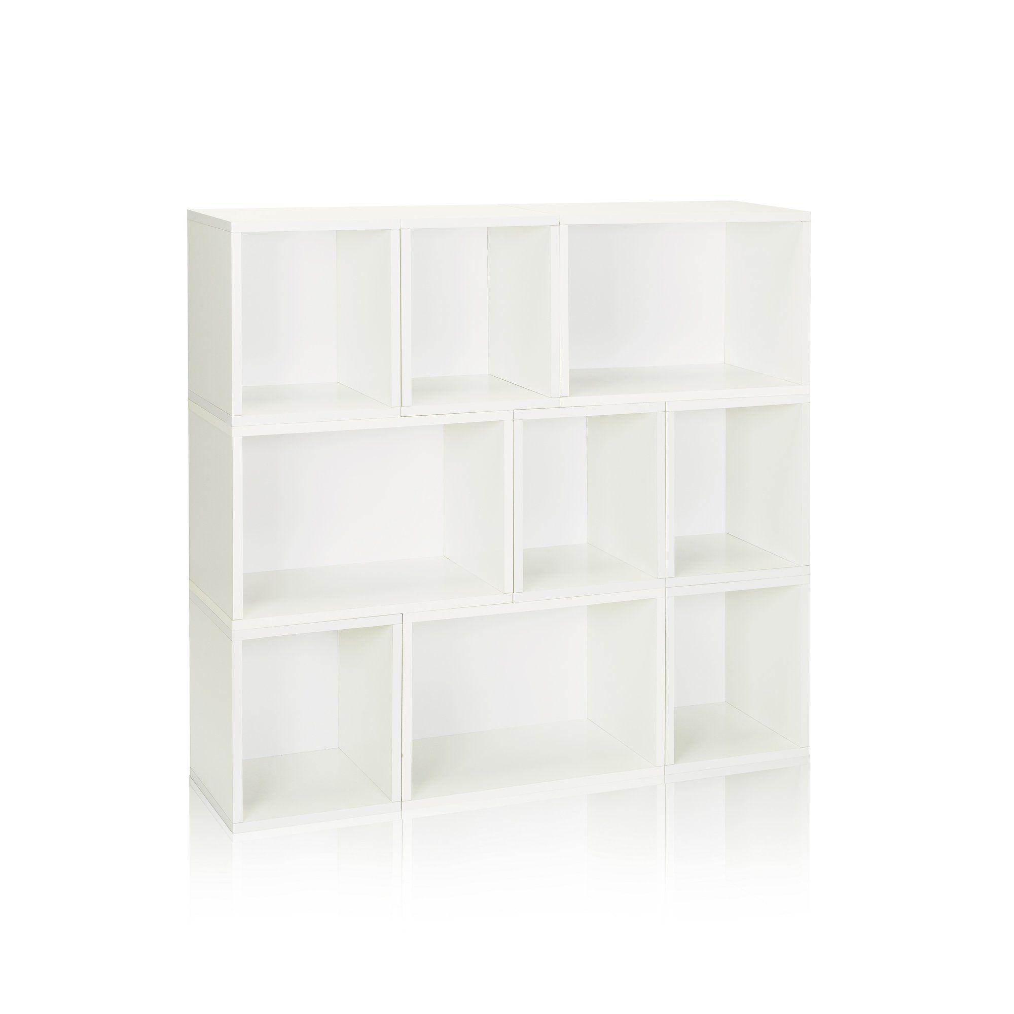 Way basics zboard storage oxford modular organizer cube unit bookcase finish aspen white