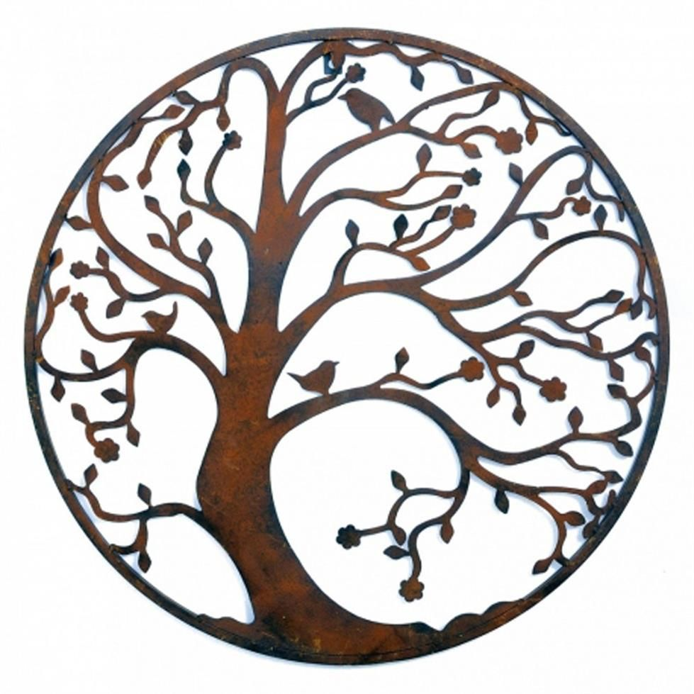 Large cm metal tree circle wall art sculpture brown metal tree
