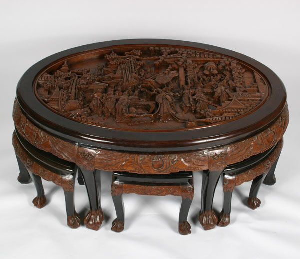 Wood Oval Coffee Table Made In China: Intricately Carved Asian Tea Table And Six Stools; Oval